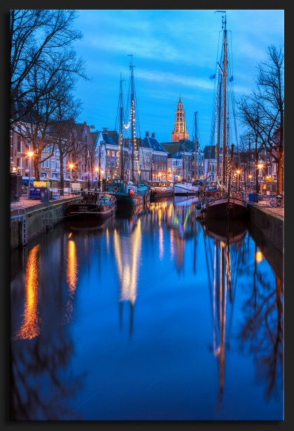 WinterWelVaart 2015 - Winterwelvasart Groningen Netherlands during blue hour