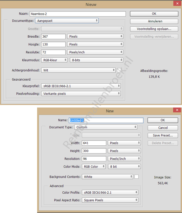 Photoshop Menu > Bestand [File] CC2015 -