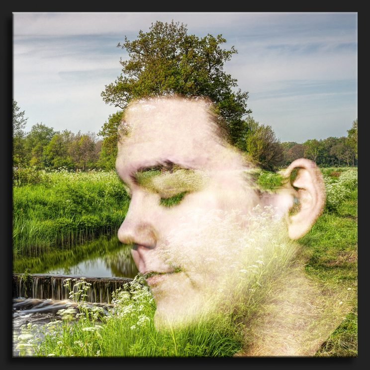 double exposure boy green landscape